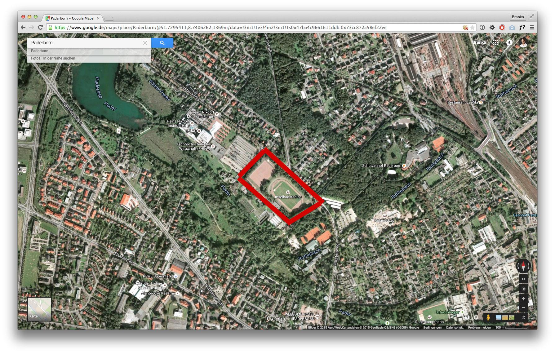 Karte: Inselbadstadion